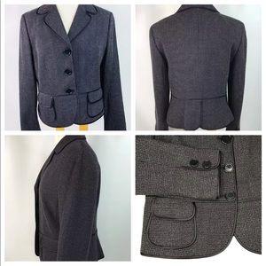 Ann Taylor Peplum Wool Blazer BlackTweed Size 12